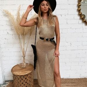 Dresses & Skirts - ROSE GOLD- mesh metallic maxi cover up size S/M